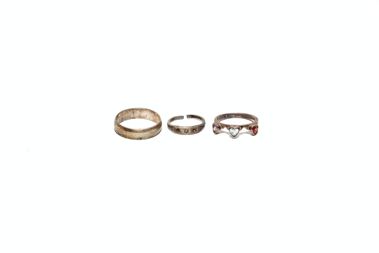 Grouping Of Sterling Silver Rings