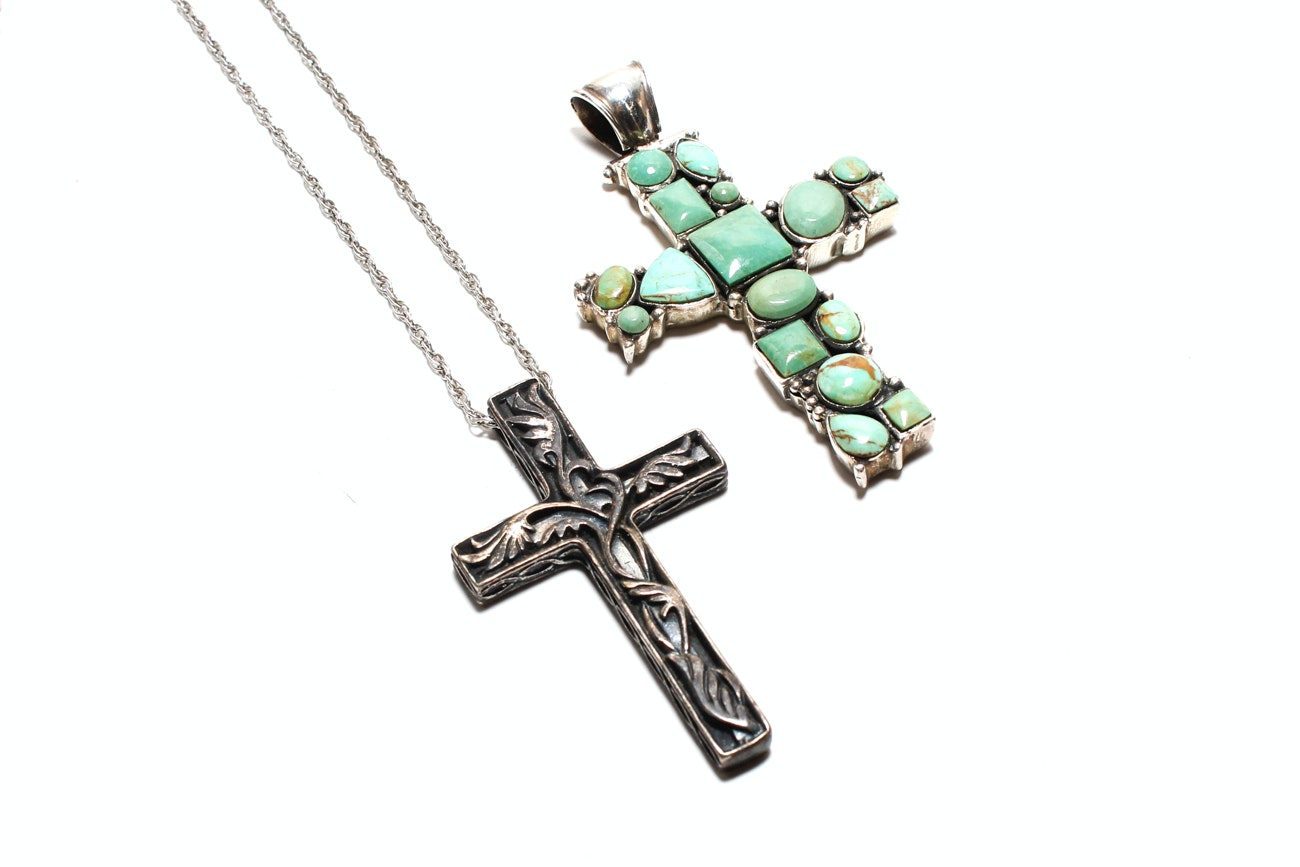 Pair Of Sterling Silver Cross Pendants Including One Sterling Silver Chain