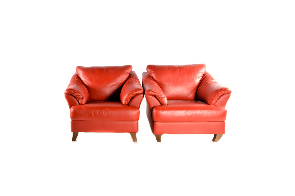 Pair of Contemporary Natuzzi Red Leather Chairs