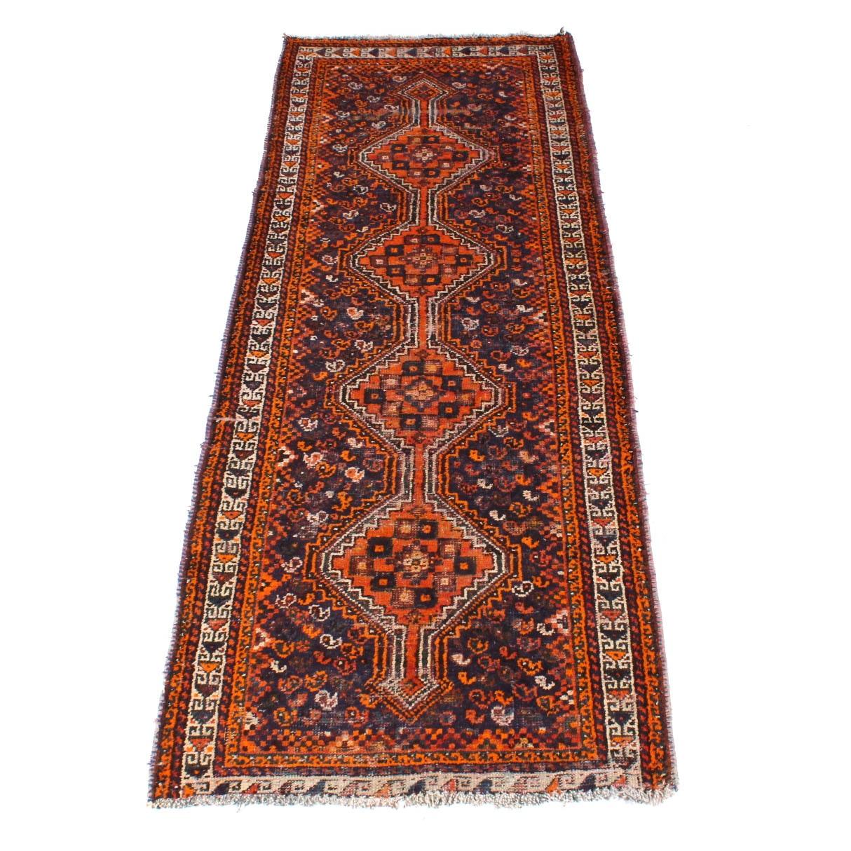 Hand-Knotted Semi-Antique Persiasn Shiraz Runner