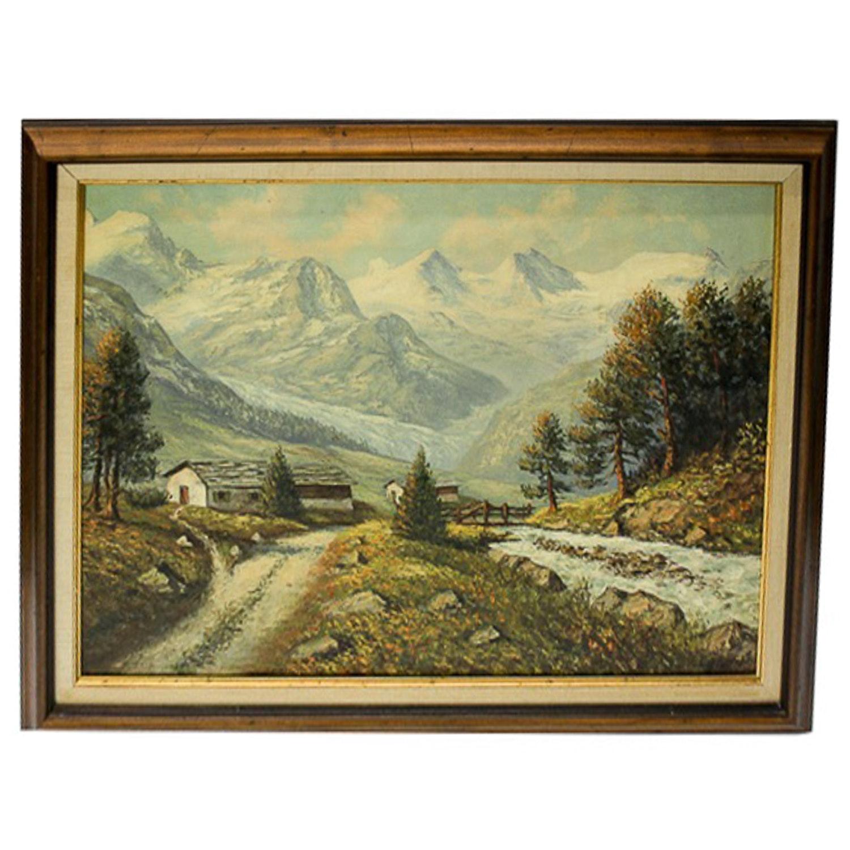 After E. Janin Lithograph of a Mountainous Landscape