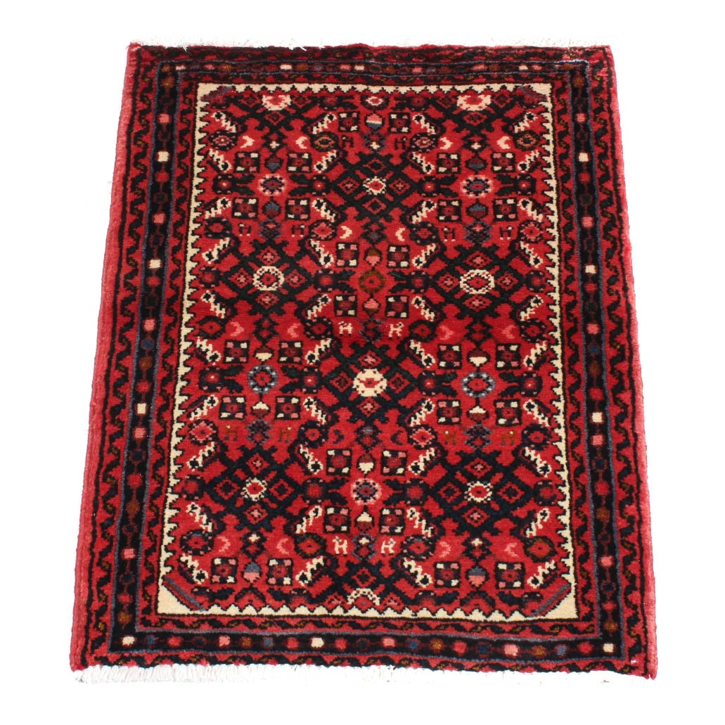 Hand-Knotted Persian Hossein Abad Accent Rug