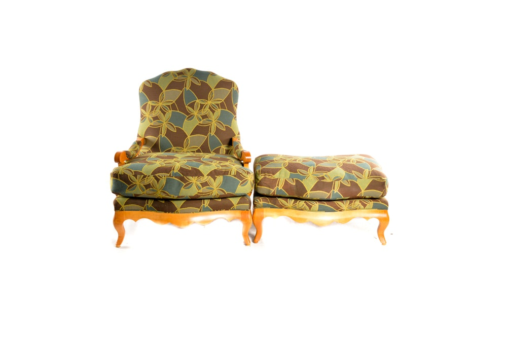 Louis XV Inspired Fauteuil Chair and Ottoman