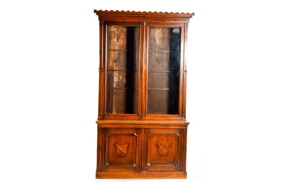 Antique Tiger Oak Bookcase Cabinet