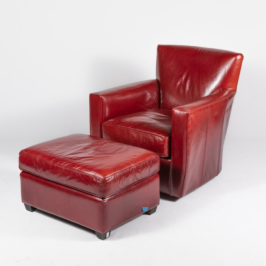 Crate Barrel Red Leather Chair And Ottoman Ebth