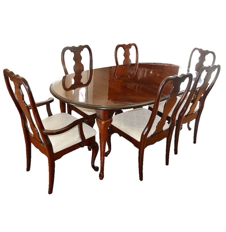 Queen anne style dining table and chairs by kincaid dining room furniture kincaid - Queen anne dining room furniture ...