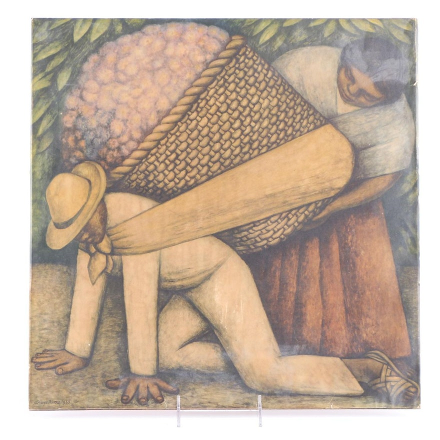 After Diego Rivera Offset Lithograph The Flower Carrier Ebth