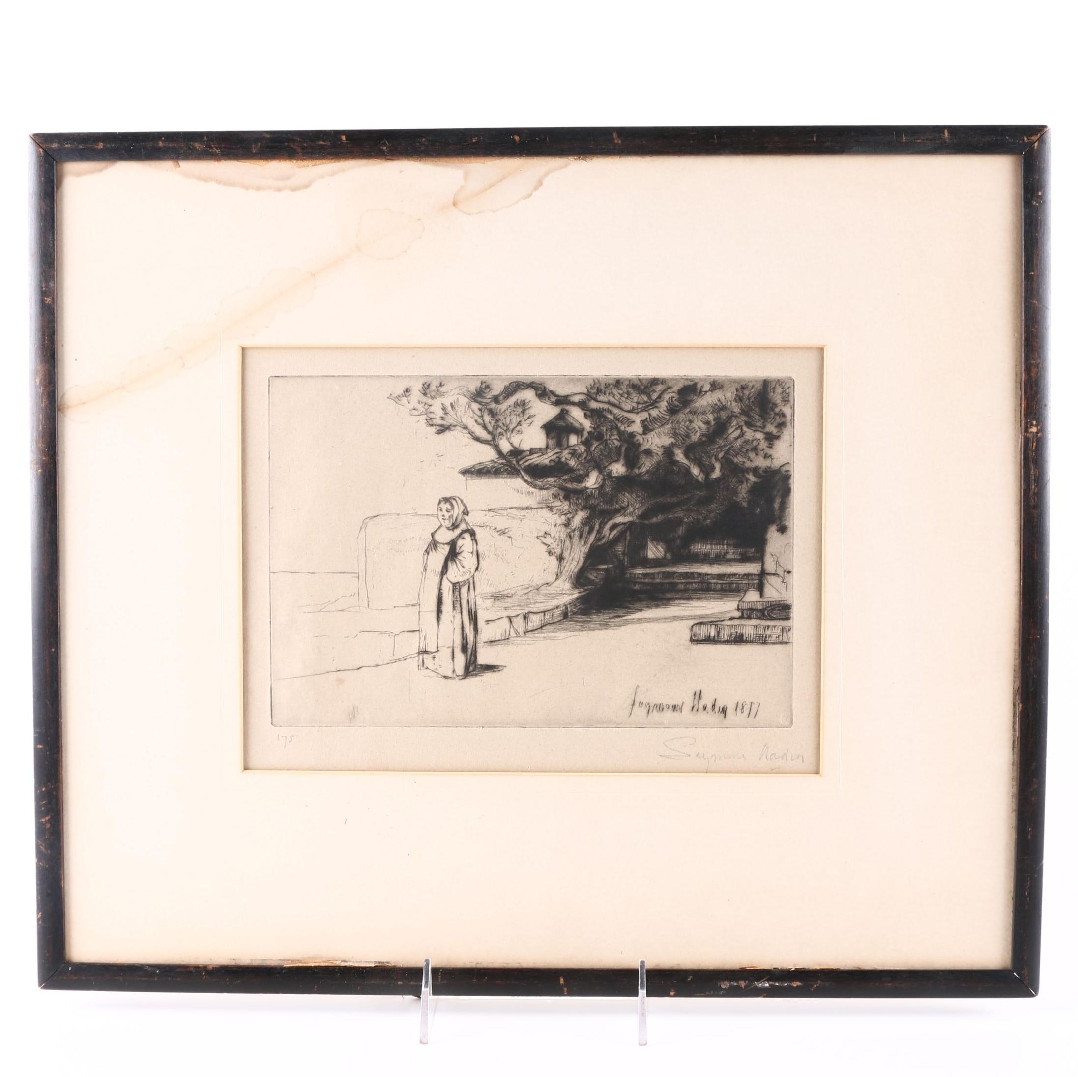Francis Seymour Haden Etching of Woman and Trees