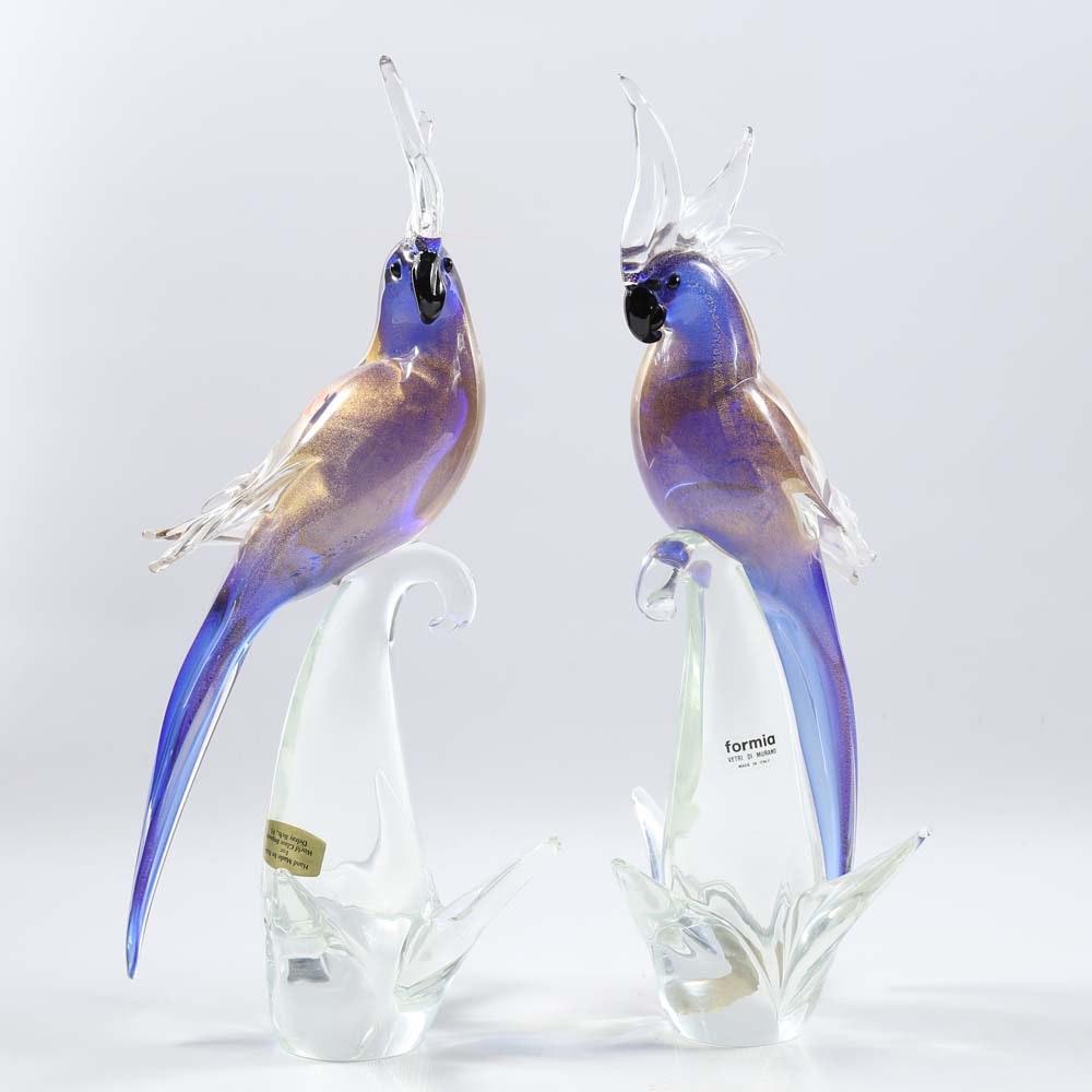 Formia Murano Blown Glass Parrots