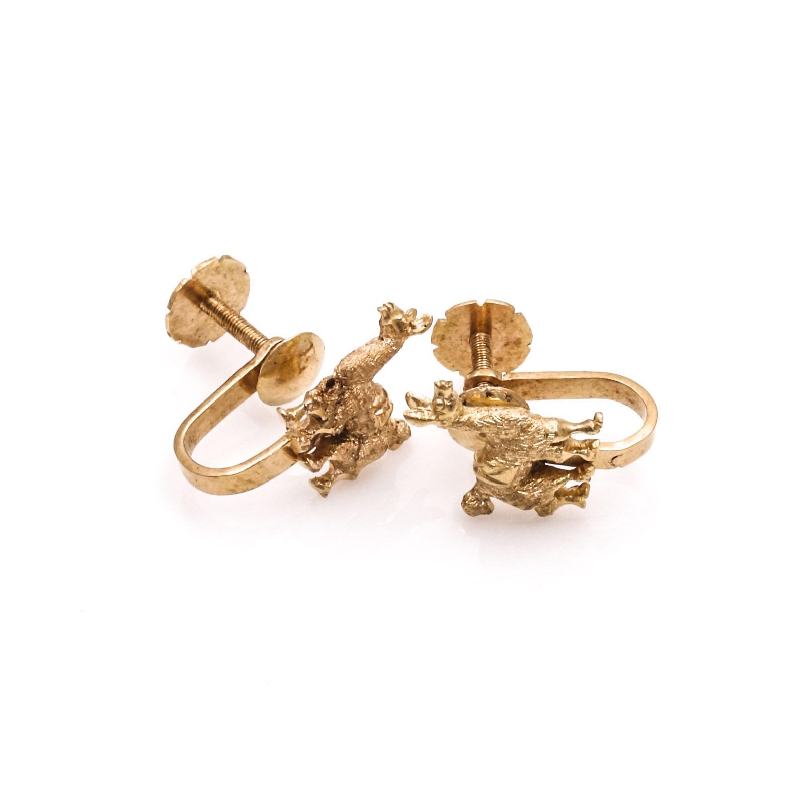 18K Gold Llama Earrings