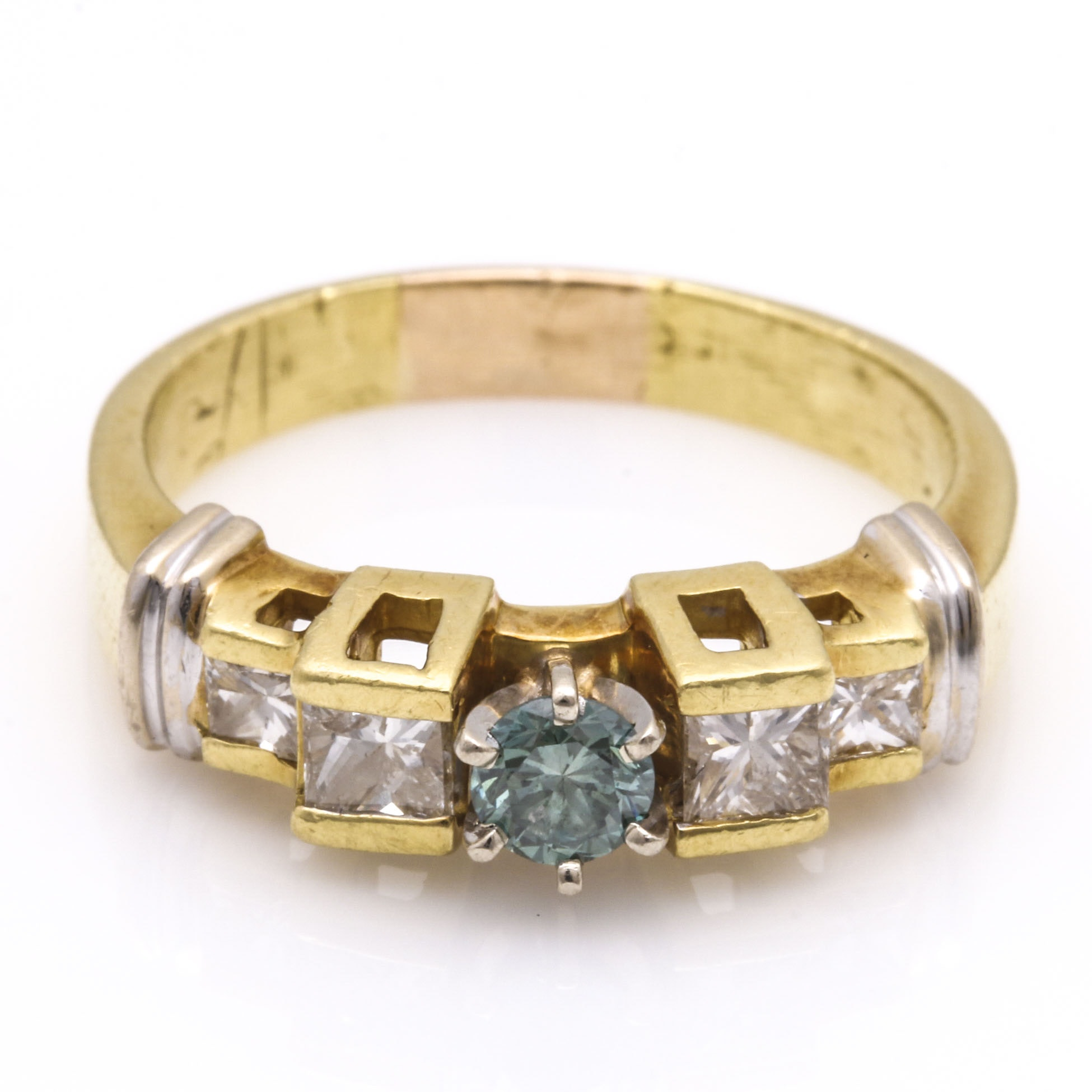 18K Yellow Gold Fancy Blue and White Diamond Ring