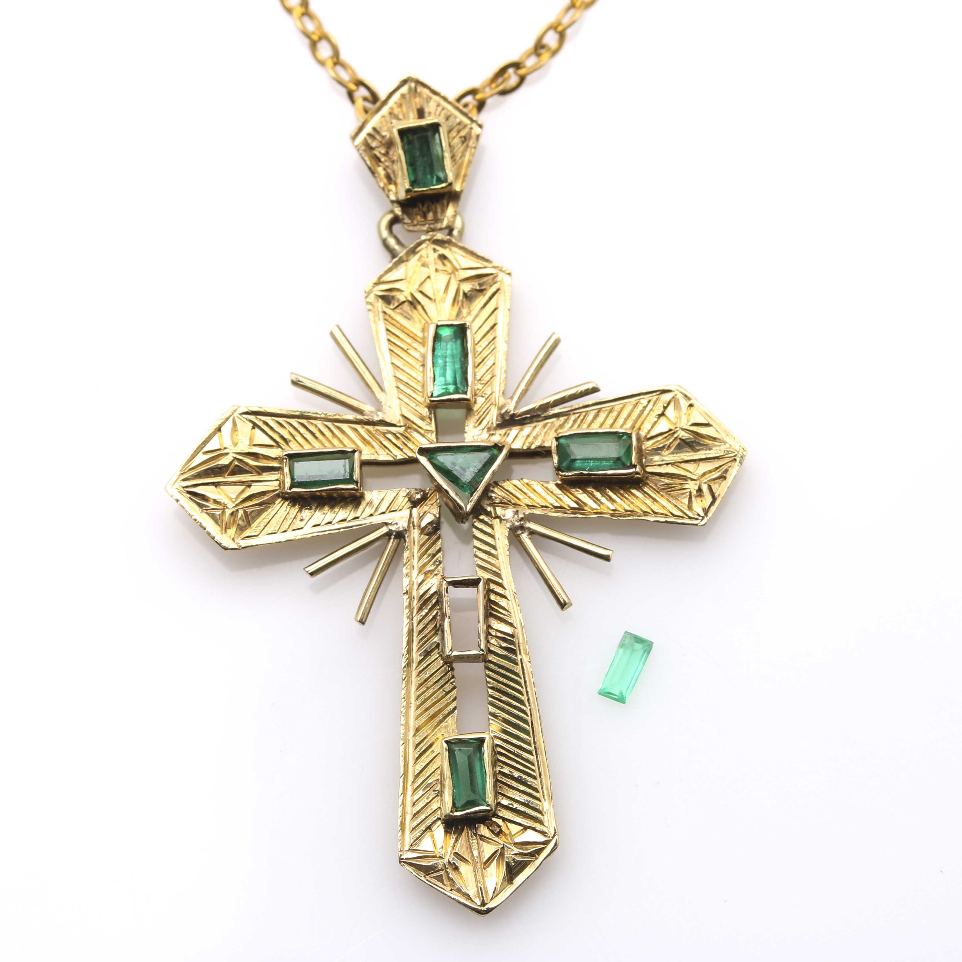14K and 18K Yellow Gold Emerald Cross Necklace