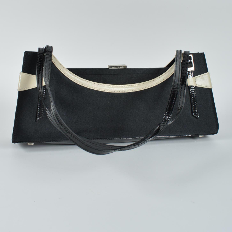 Vintage Karen Miller Black Matte Satin and Cream Leather Handbag