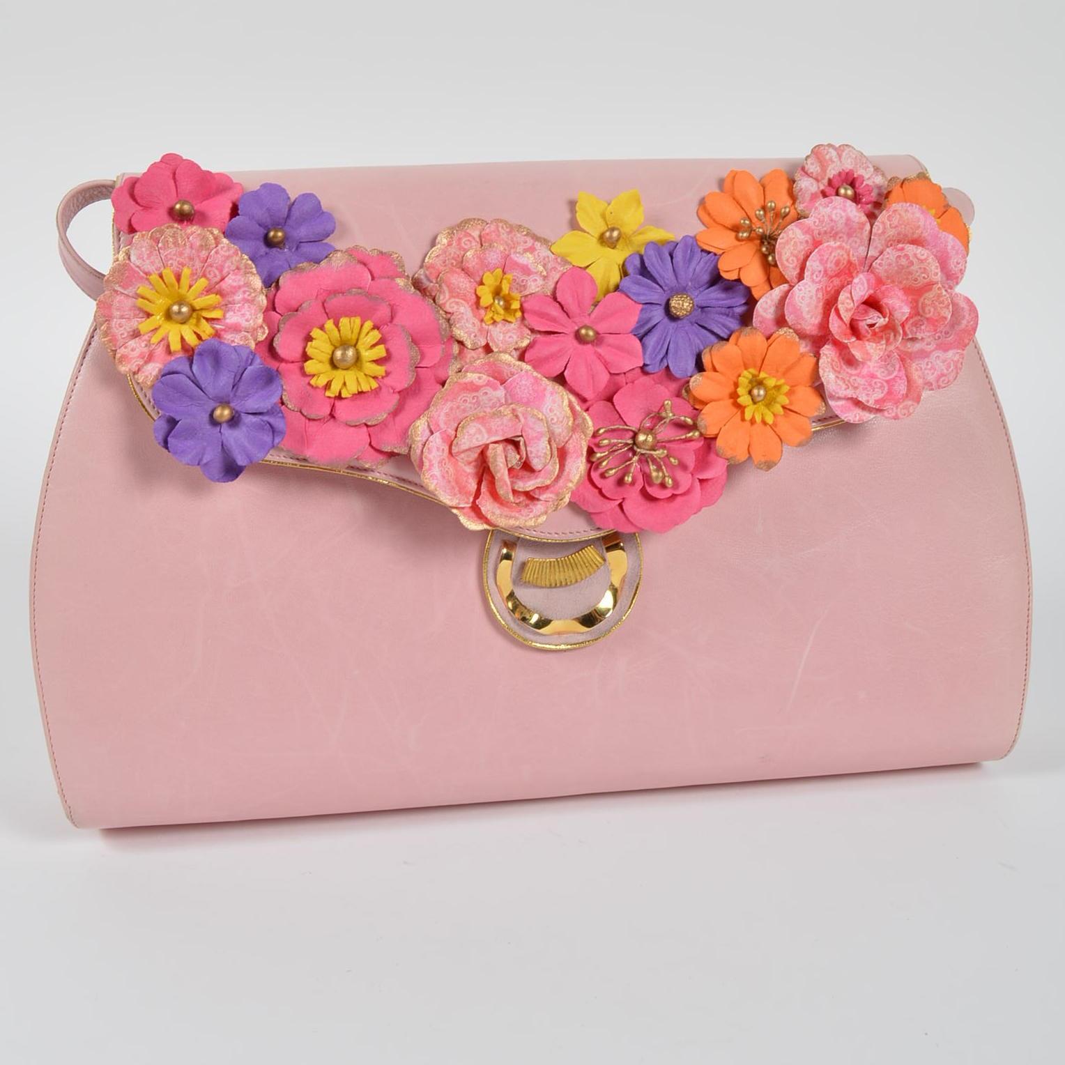 Vintage Bally Pink Embellished Handbag