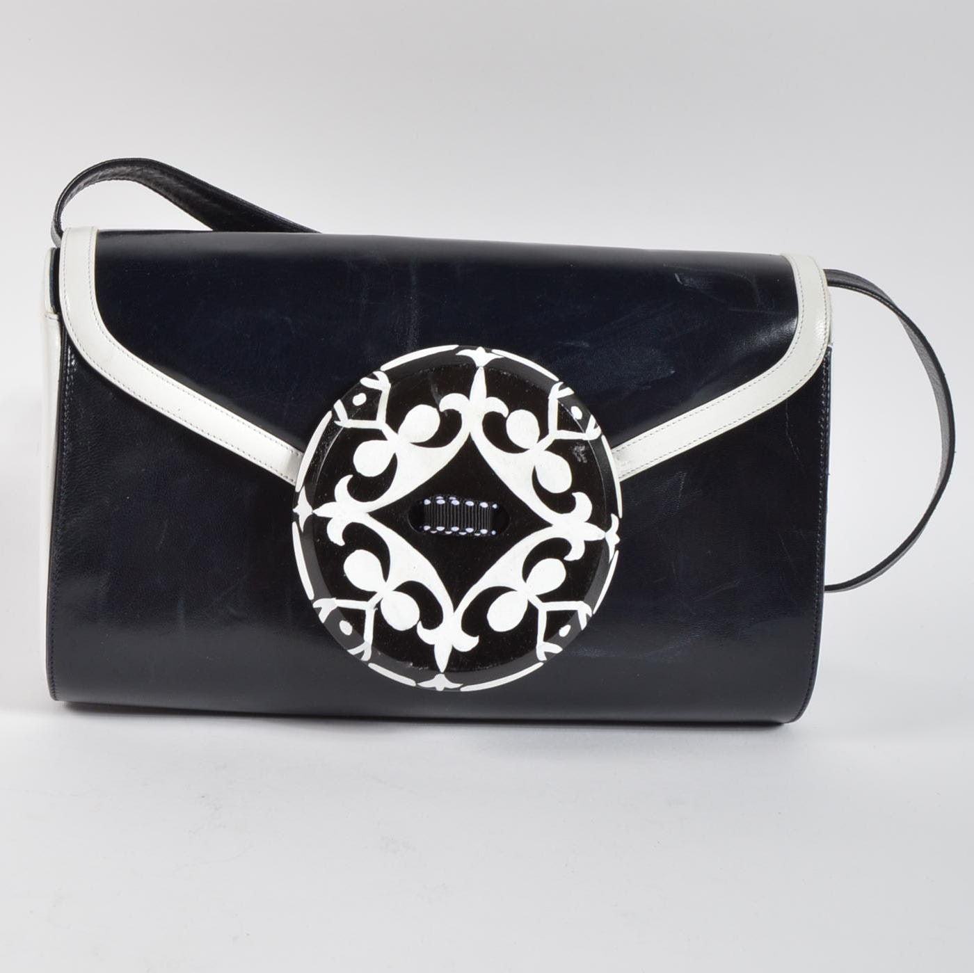 Bally Black and White Leather One-of-a-Kind Shoulder Bag