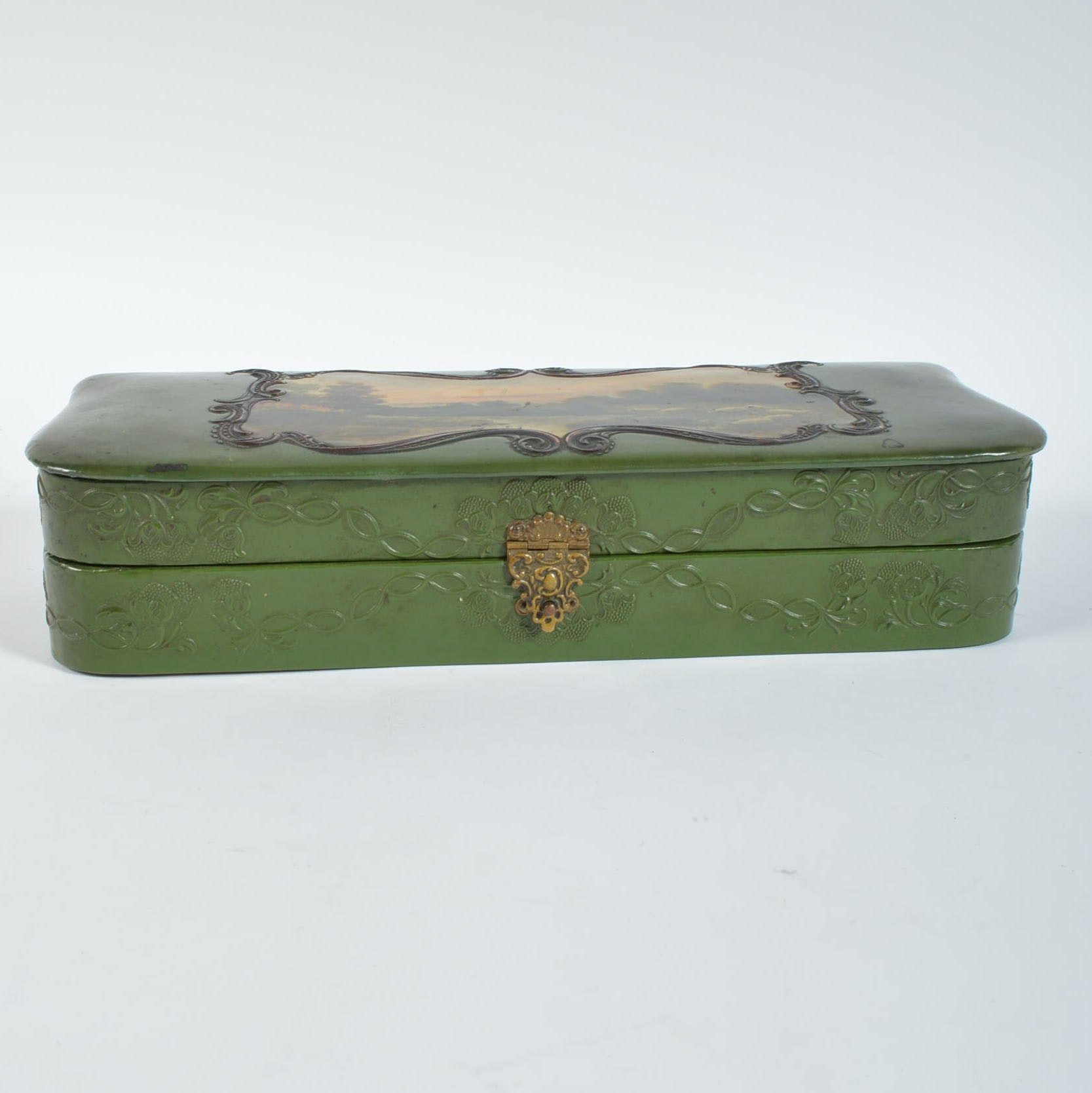 Vintage Decoupaged Box with Pastoral Image