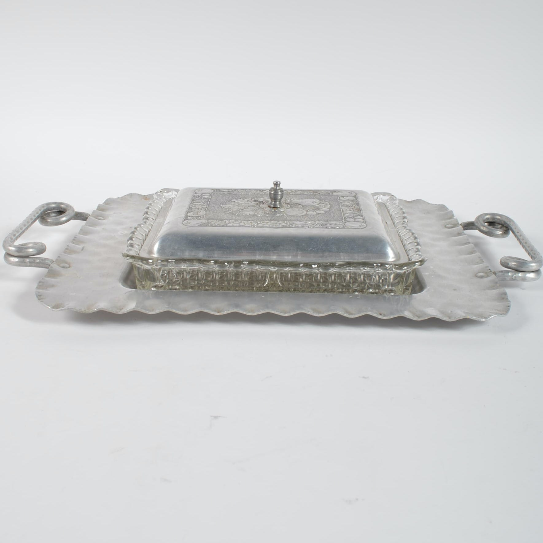 Vintage 1950s Cromwell Hand Wrought Aluminum Tray with Condiment Server