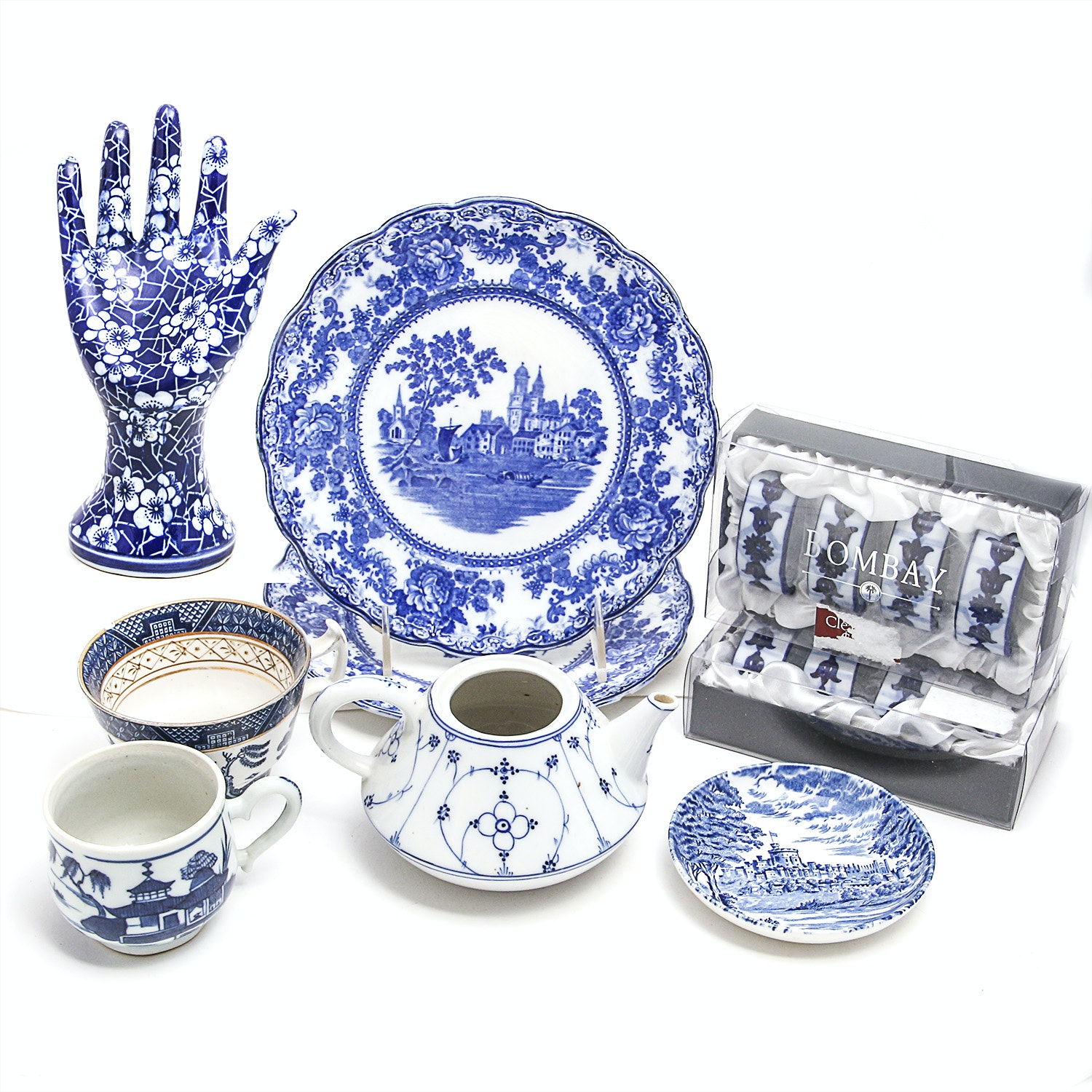 Collection of Blue and White Asian Inspired Tableware and Home Decor