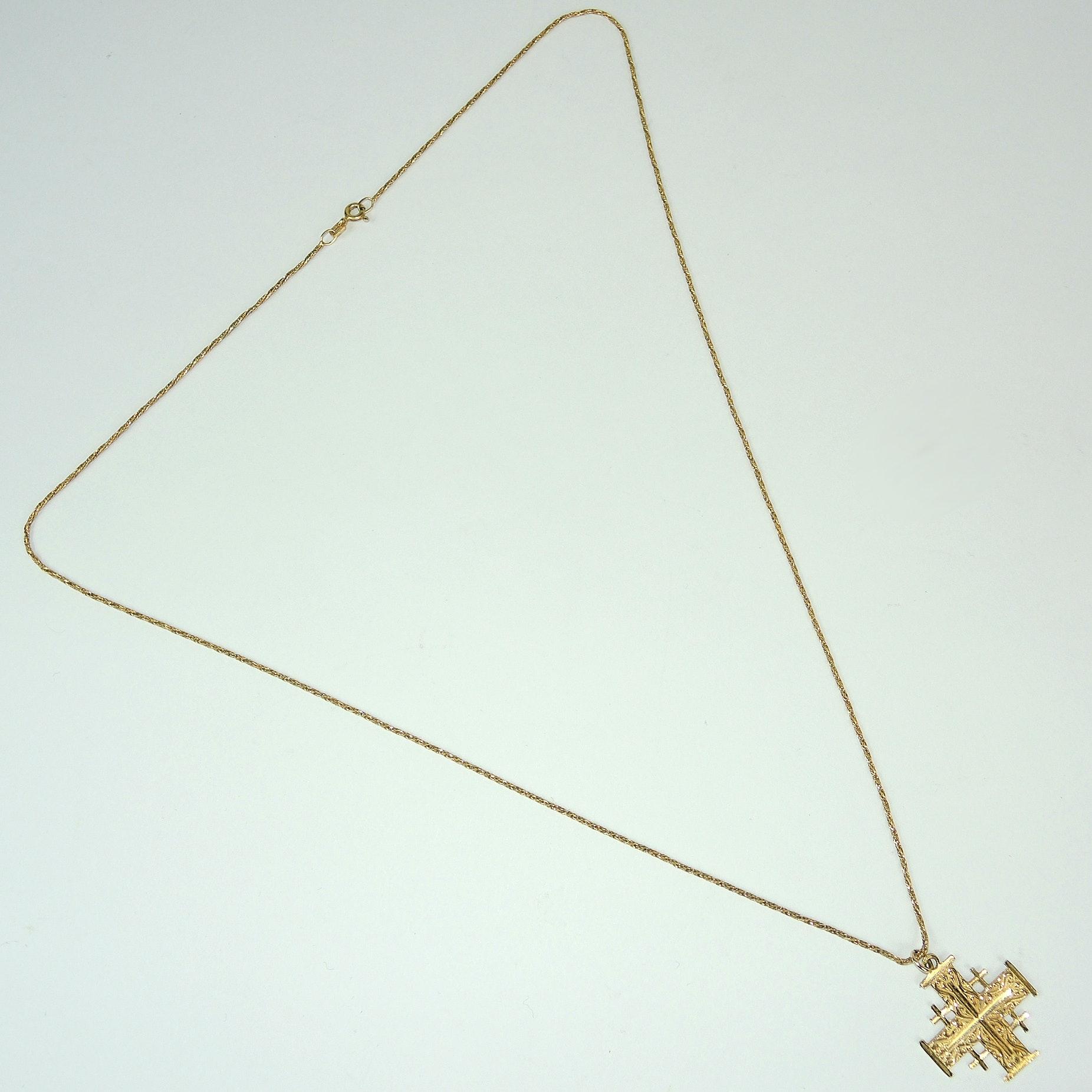 18K Chain Necklace with 14K Jerusalem Cross Pendant