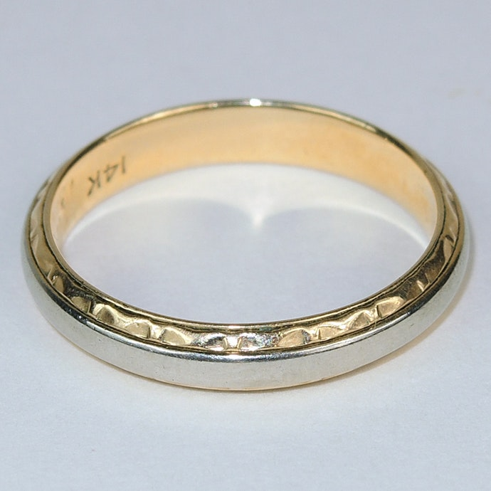 Vintage 14K Two Tone White Yellow Gold Wedding Ring