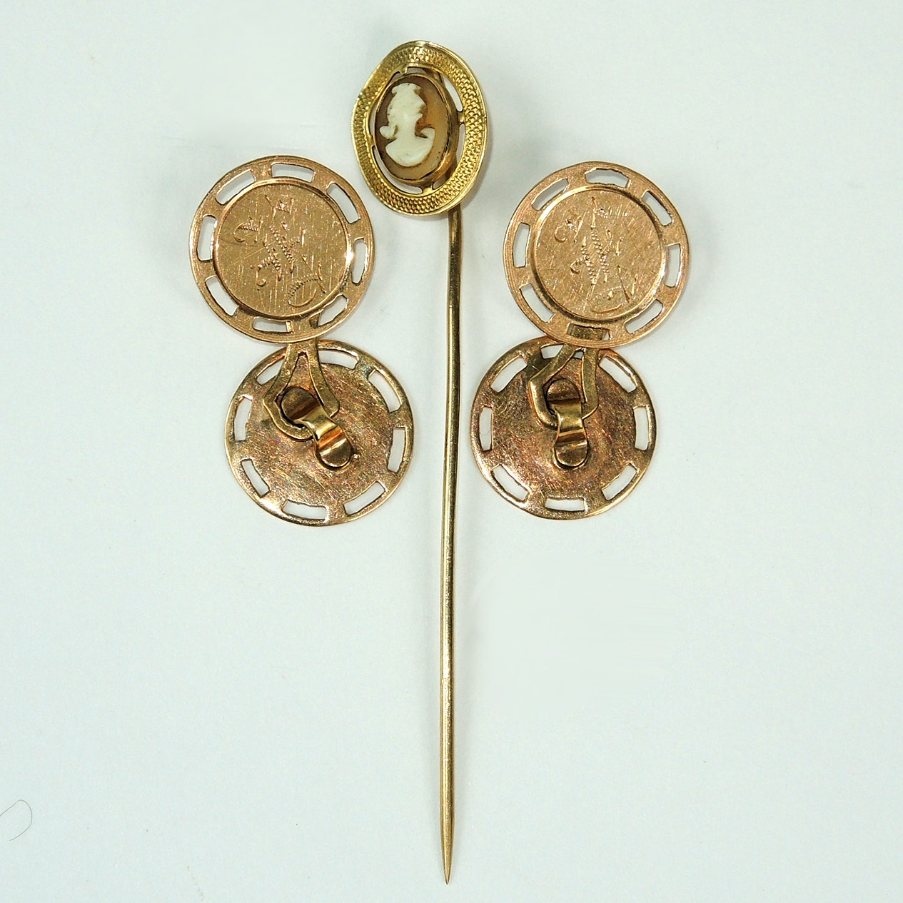 10K Gold Cufflinks and Cameo Pin