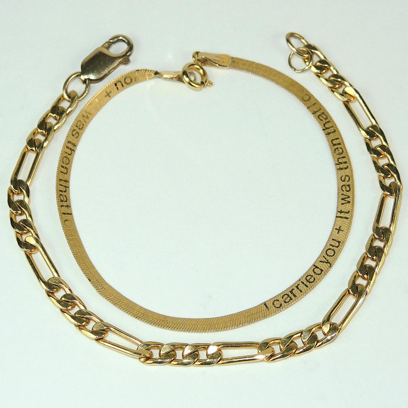 Two 14K Yellow Gold Bracelets