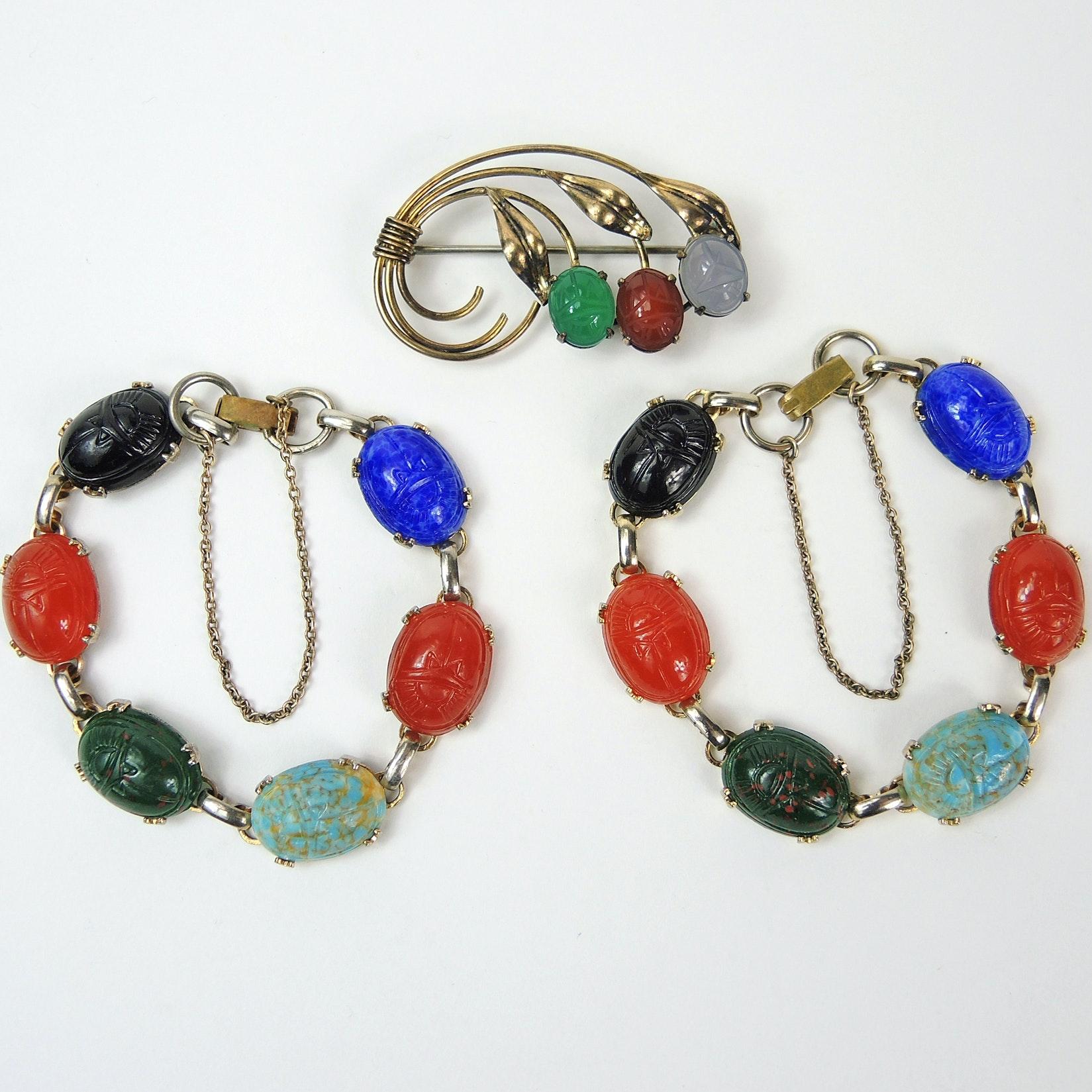 Gemstone Scarab Bracelet Pair and Sterling Brooch