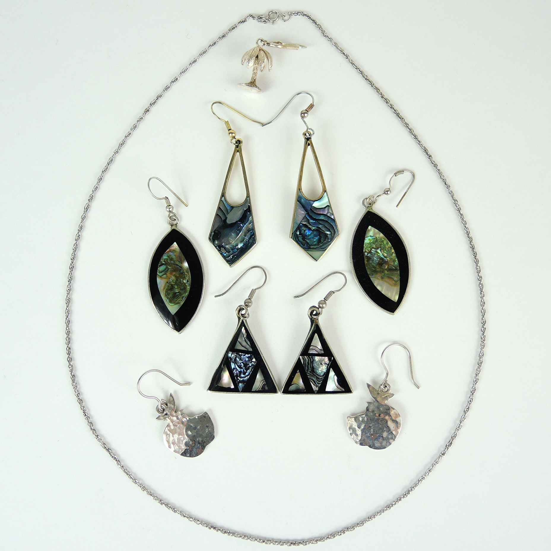 Sterling Jewelry and Abalone Alpaca Mexico Earrings