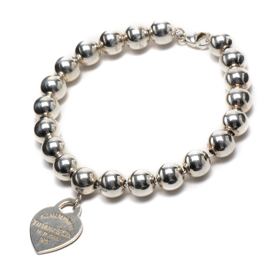 e2ba55550 Tiffany & Co. Sterling Silver Ball Bead Bracelet with Heart Tag | EBTH