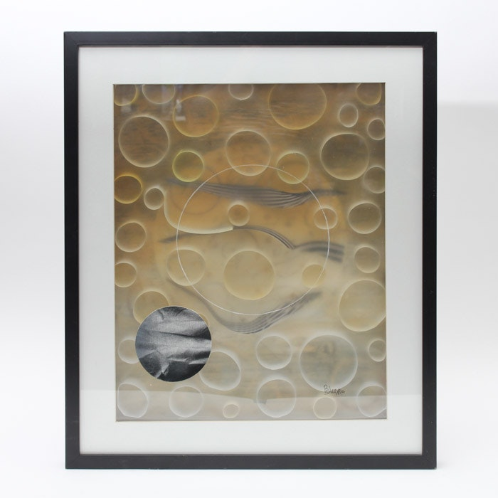 Signed Mixed Media Abstract Art in Frame