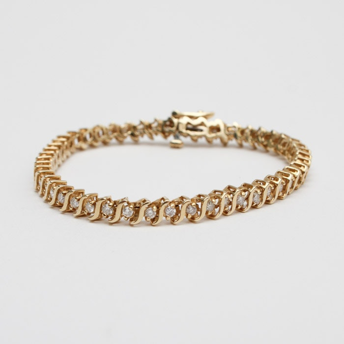 14K Yellow Gold 1.96 CTW Diamond Tennis Bracelet