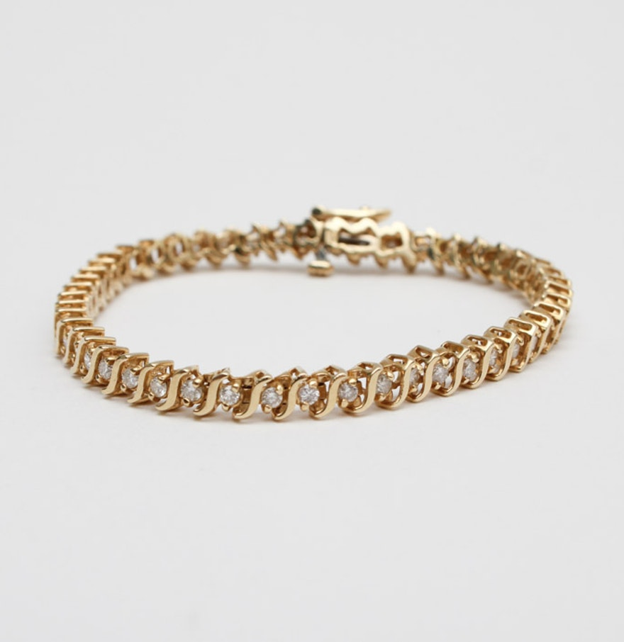 14K Yellow Gold 1 96 CTW Diamond Tennis Bracelet. Home Furnishings  Housewares  D cor   More  17WDC025    EBTH