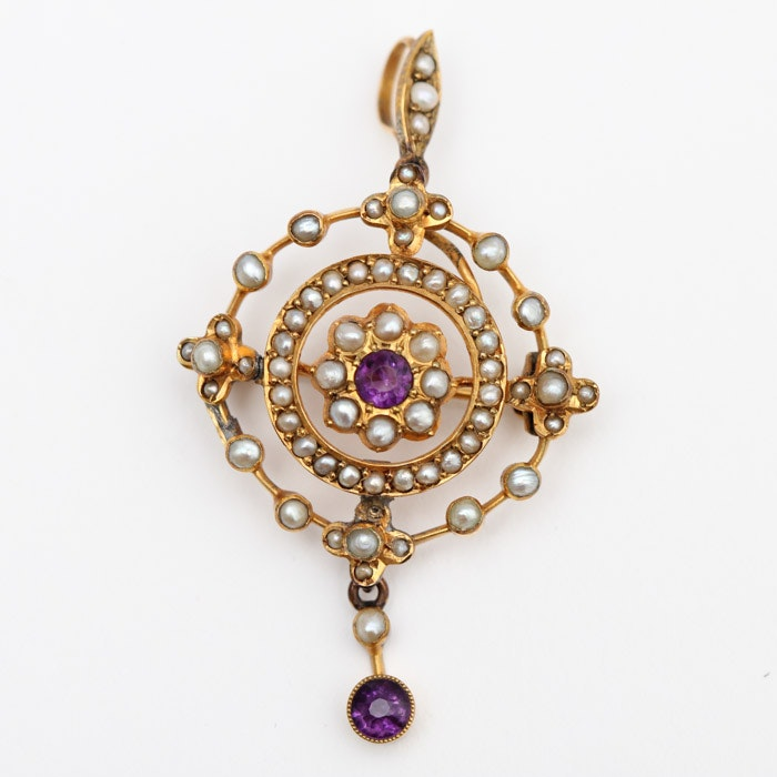 Antique Gold, Seed Pearl, and Amethyst Pendant Brooch