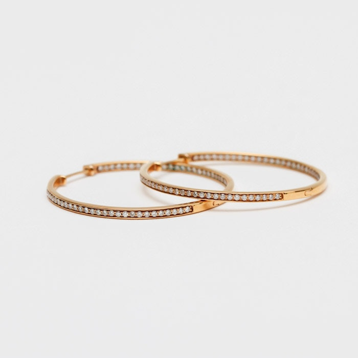 18K Gold and Diamond Hoop Earrings