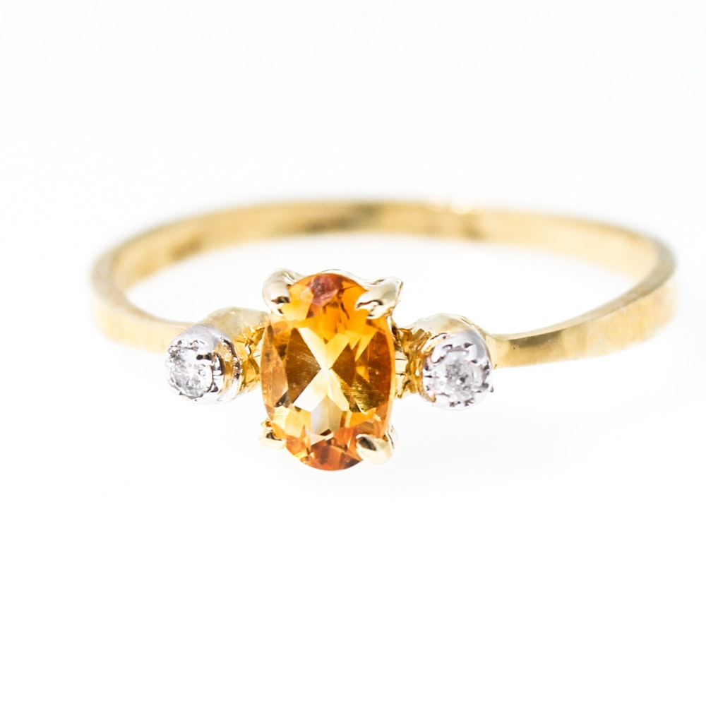 14K Yellow Gold Natural Citrine and Diamond Ring