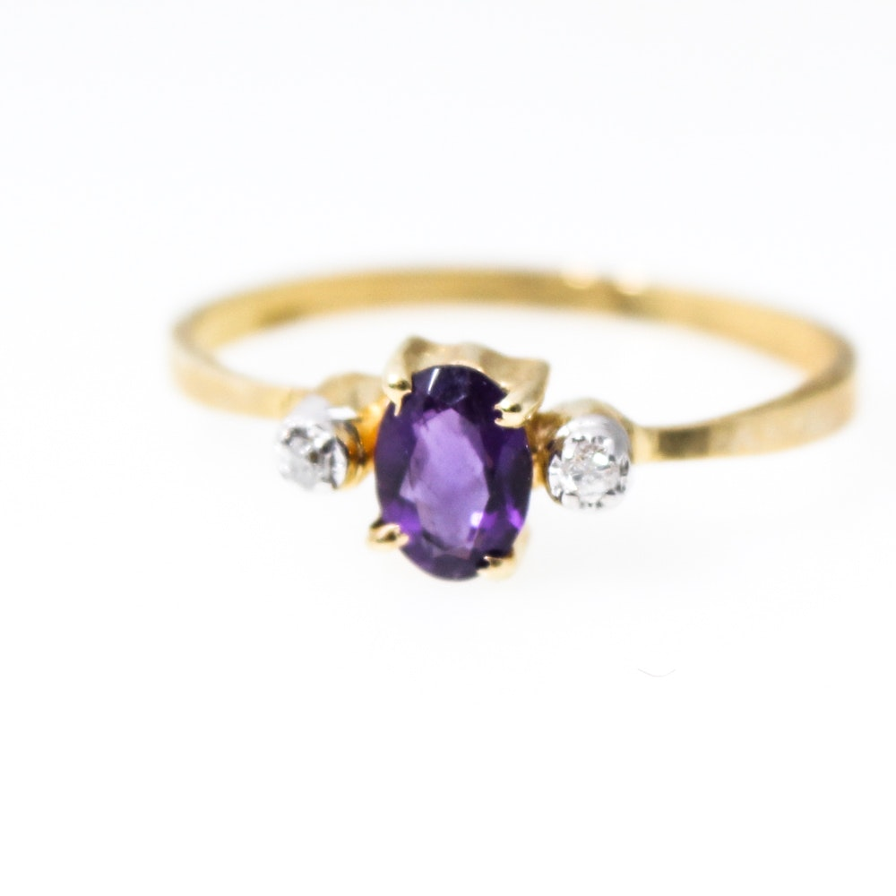 14K Yellow Gold Natural Amethyst and Diamond Ring