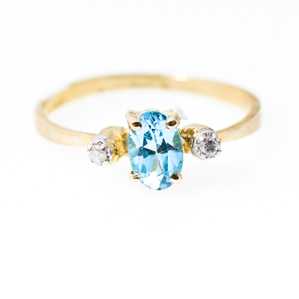 14K Yellow Gold Natural Blue Topaz and Diamond Ring