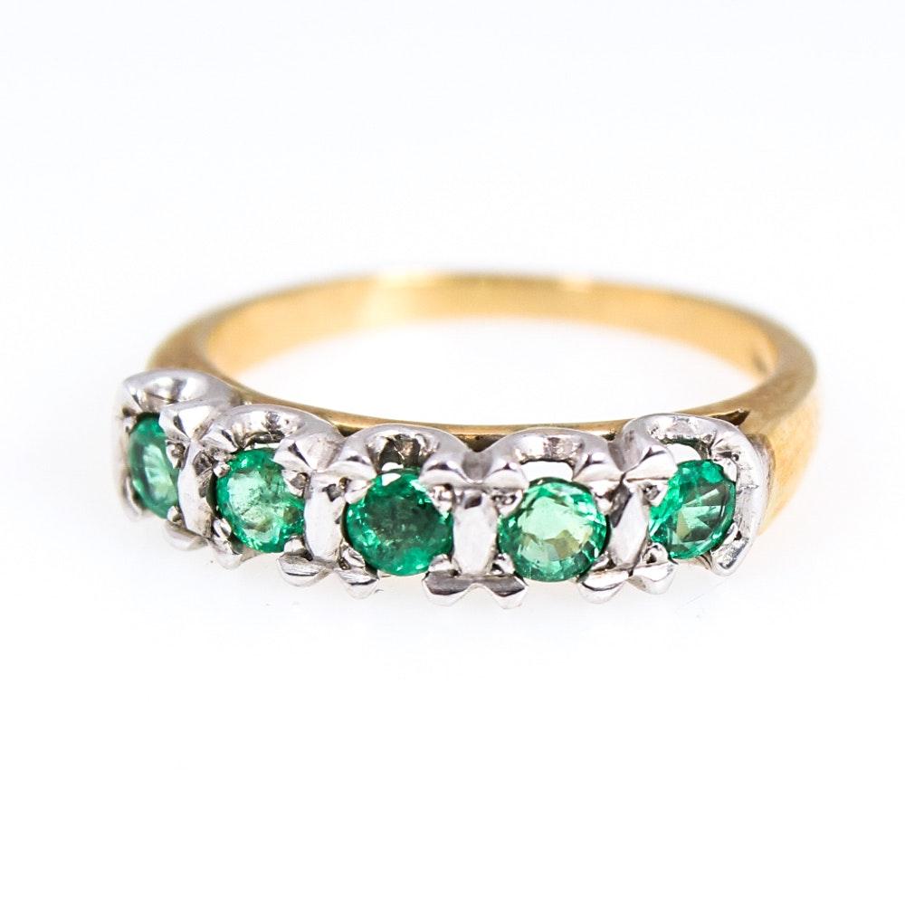 14K Yellow Gold Natural Emerald Ring