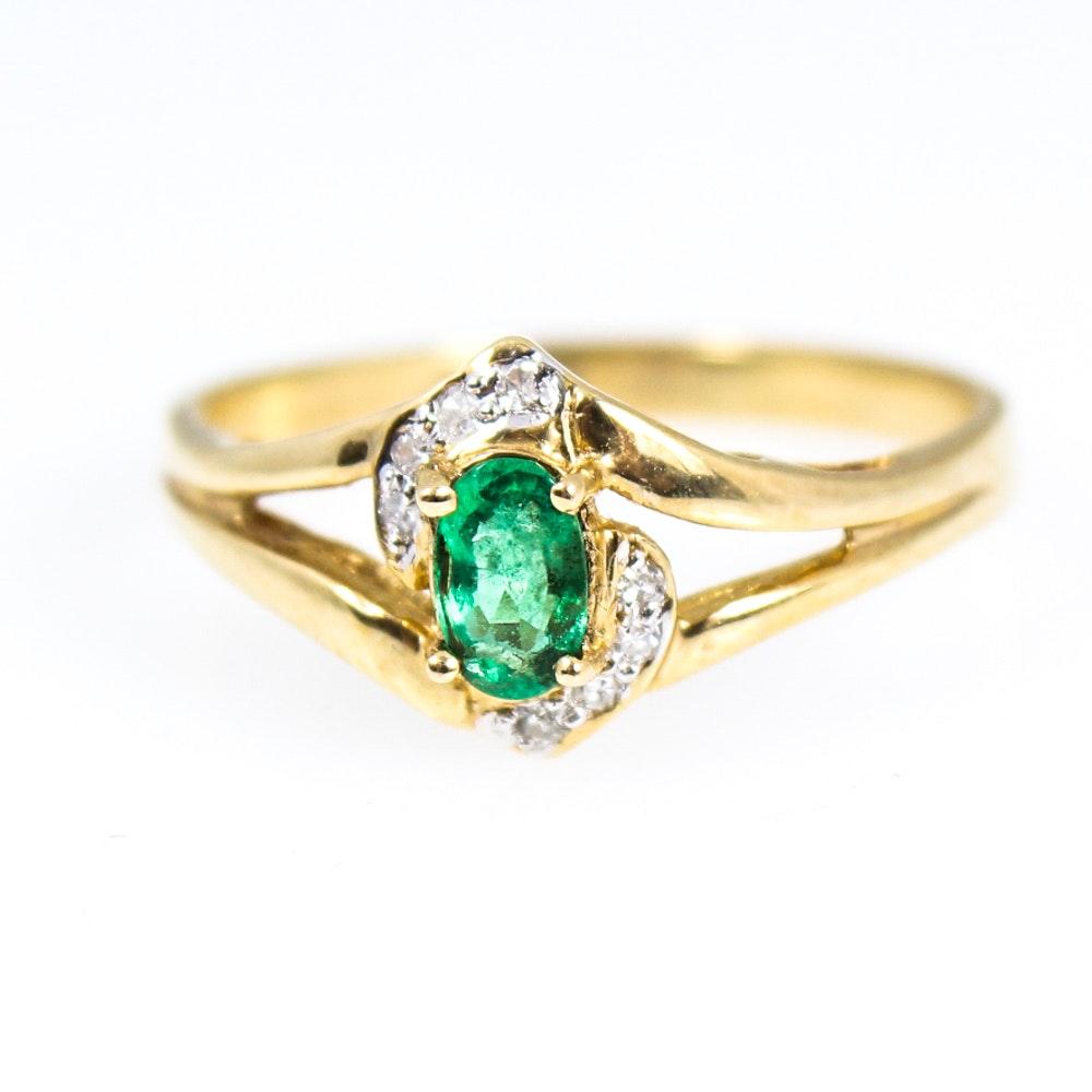14K Yellow Gold Natural Emerald Diamond Ring