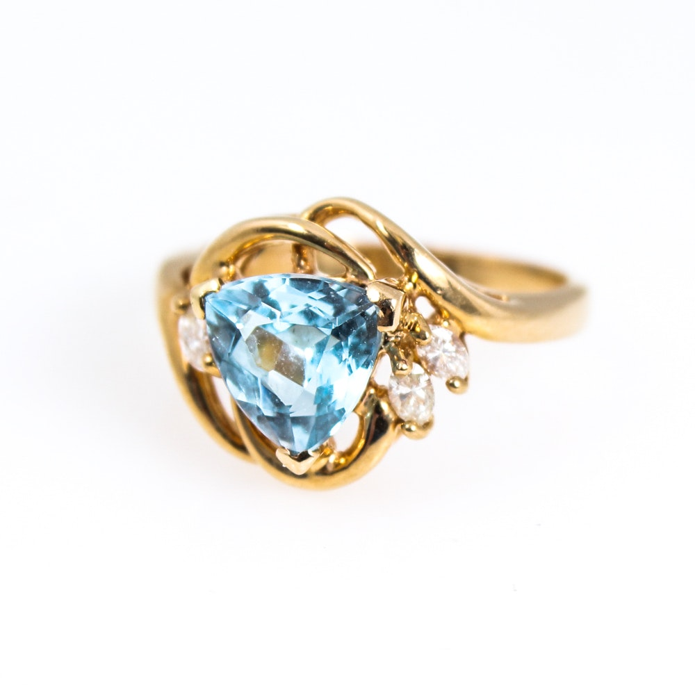 14K Yellow Gold Natural Blue Topaz Diamond Ring