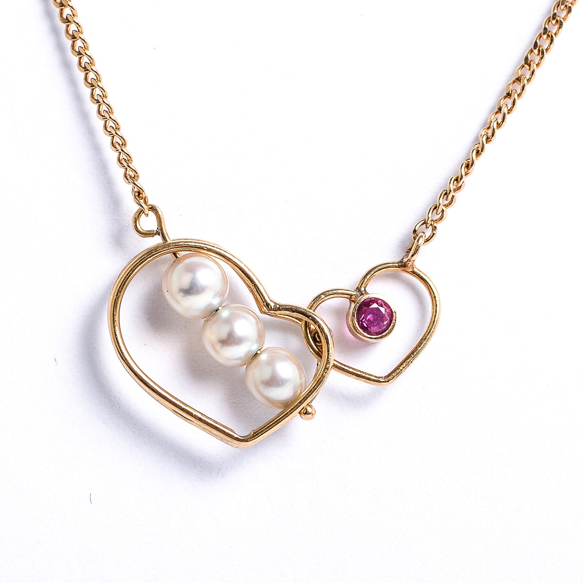 18K Yellow Gold, Pearl and Ruby Open Heart Necklace
