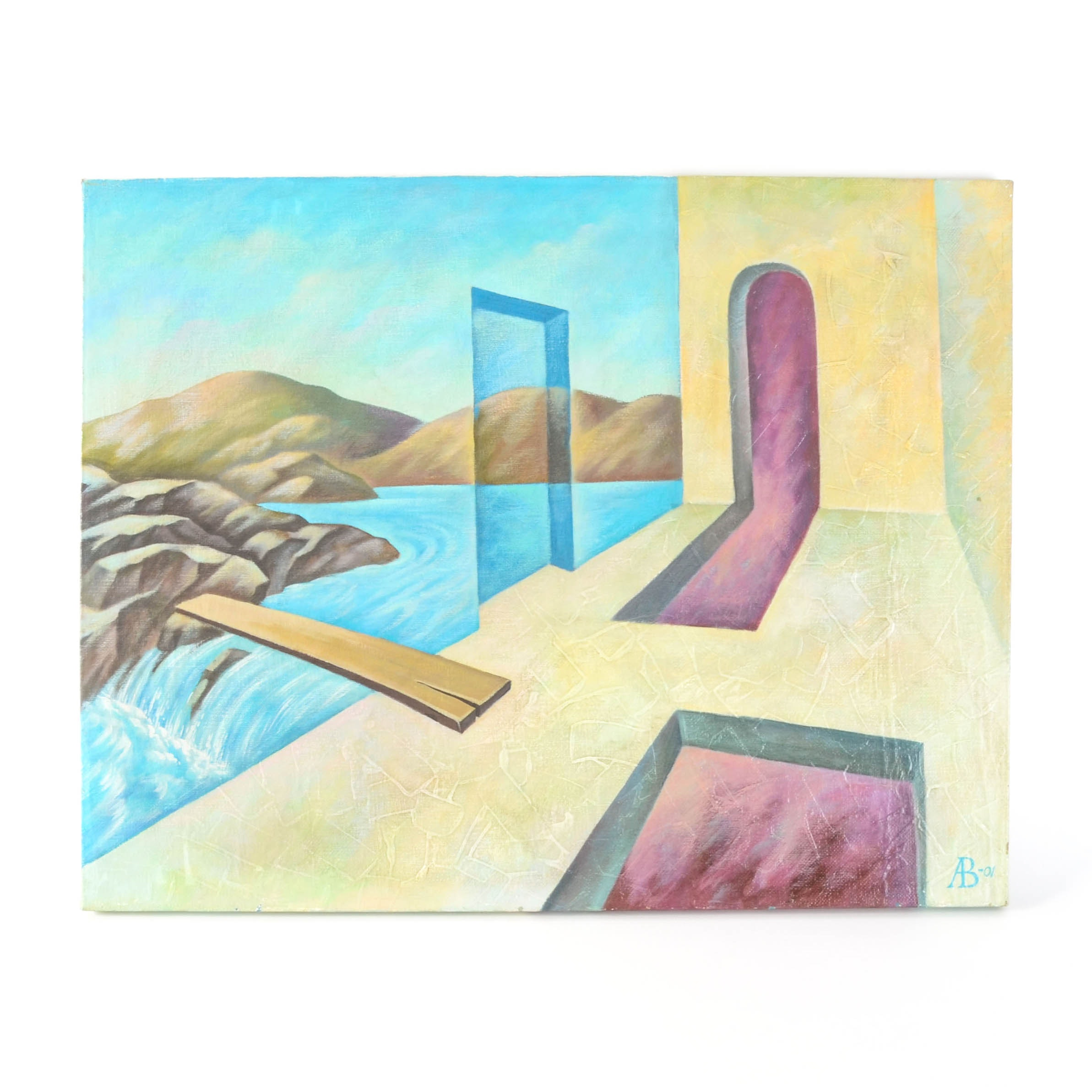 """2001 Russian Abstract Painting of """"Passage to Waterfall"""""""