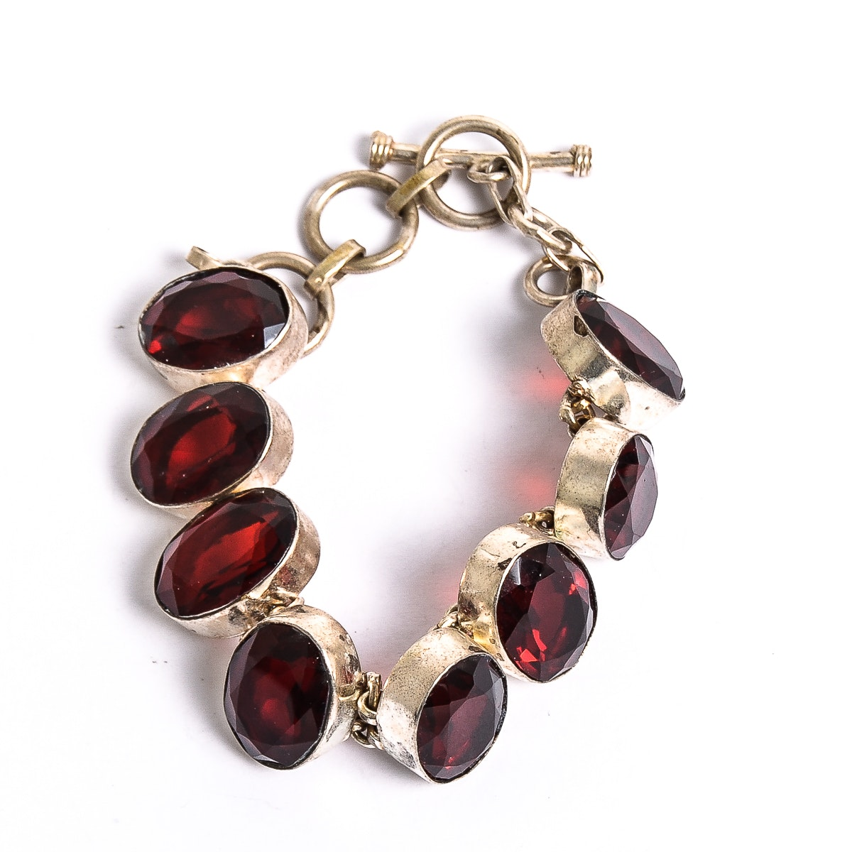 Sterling Silver and Red Stone Link Bracelet
