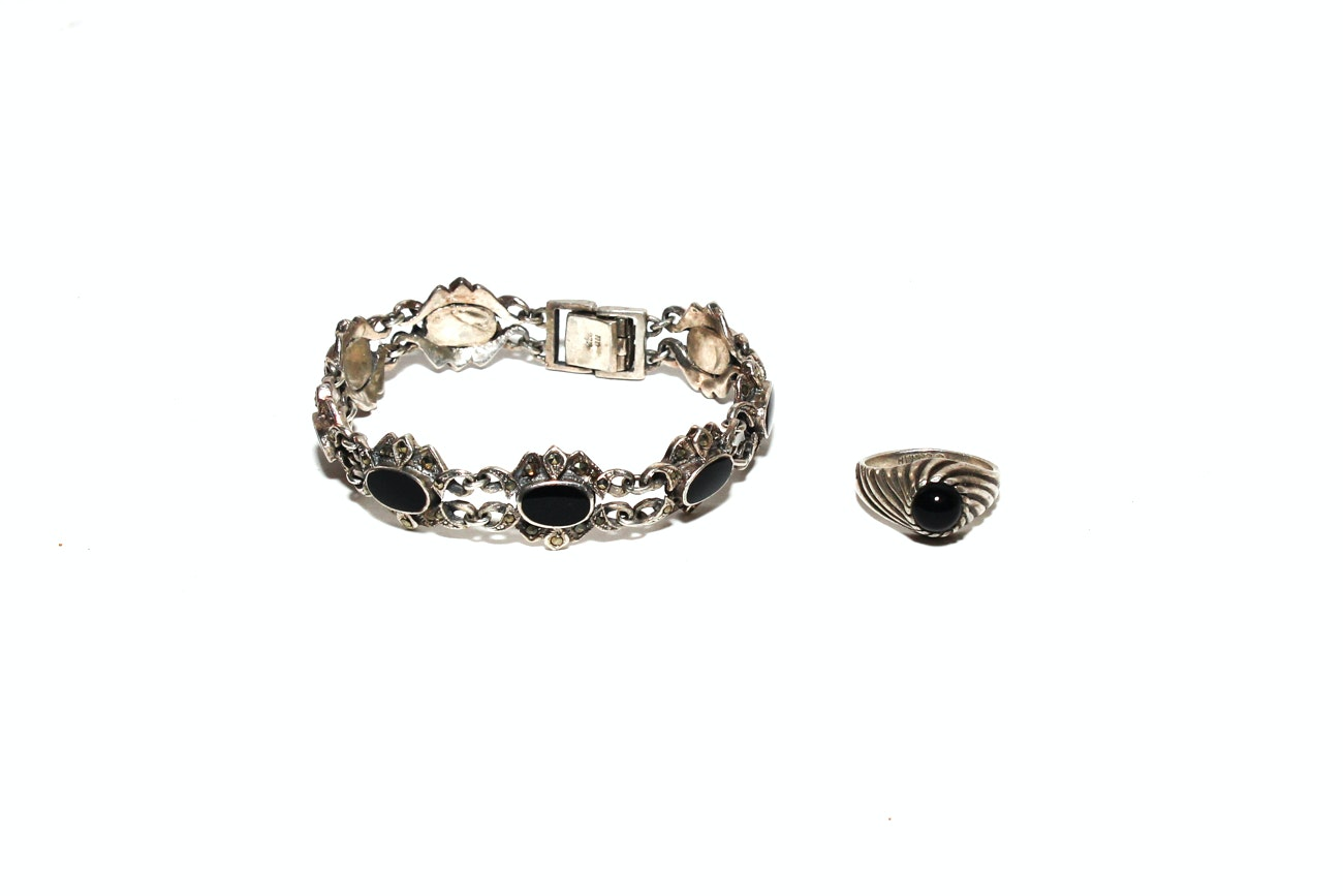 1970s Sterling Silver And Black Onyx Bracelet And Ring Set