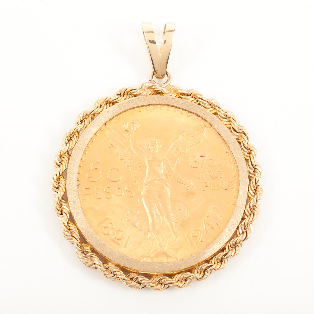 22K Yellow Gold 1821-1947 Mexican 50 Peso in 14K Yellow Gold Bezel Pendant