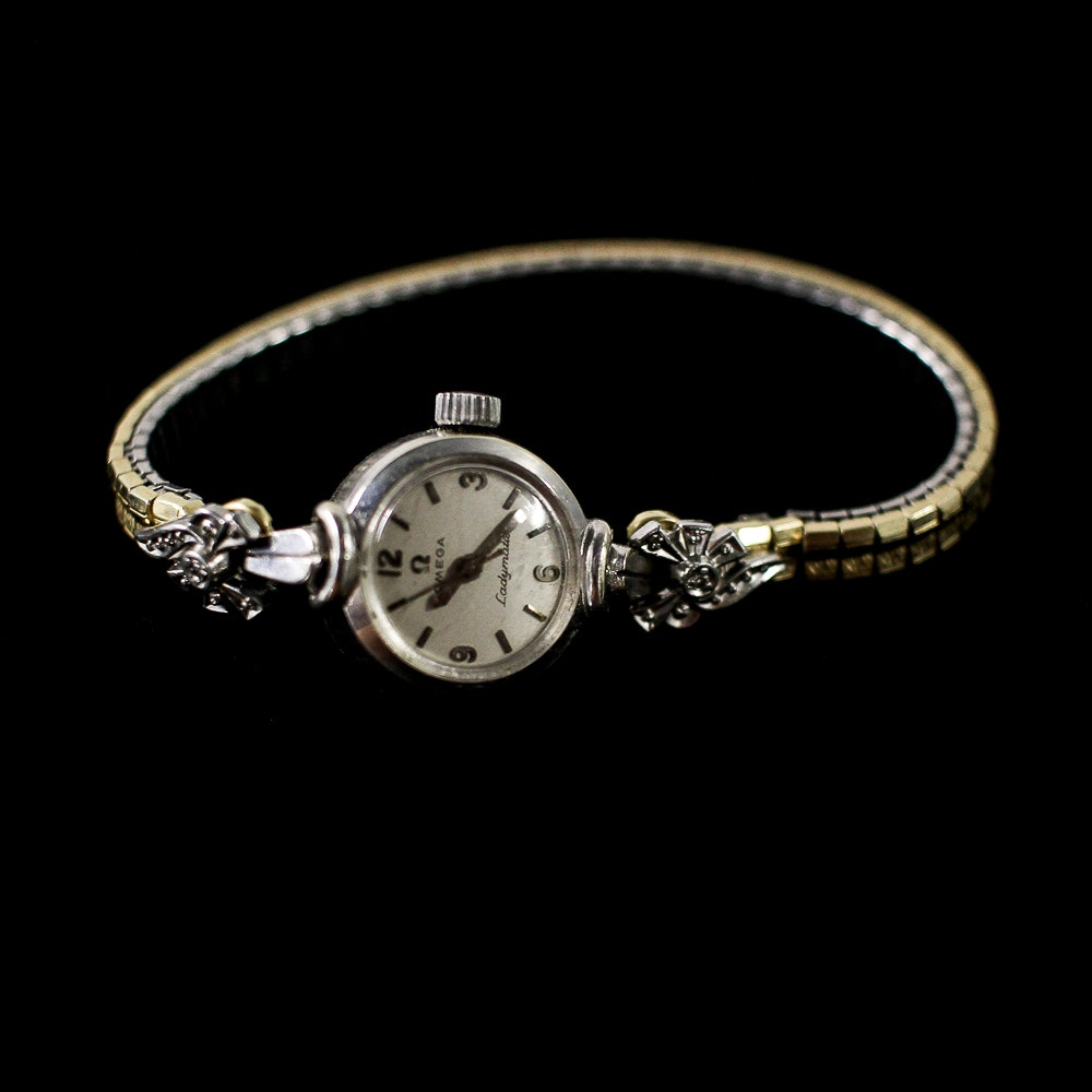 14K White Gold and Diamond Omega Watch