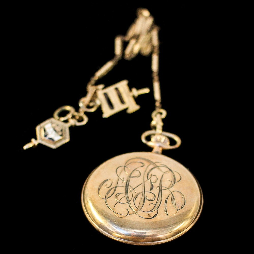 Gold Filled Elgin Pocket Watch with Fob and 14K and 10K Charms