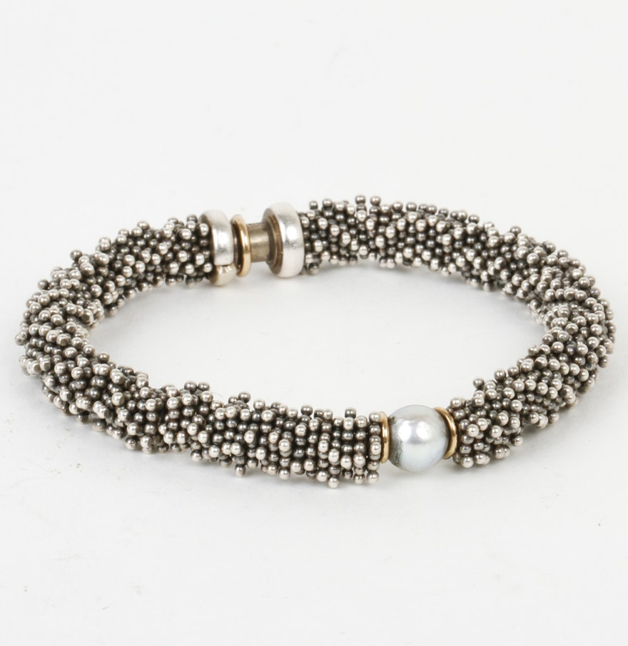 Michael Dawkins Sterling Silver And Pearl Bracelet With 14k Gold Accents