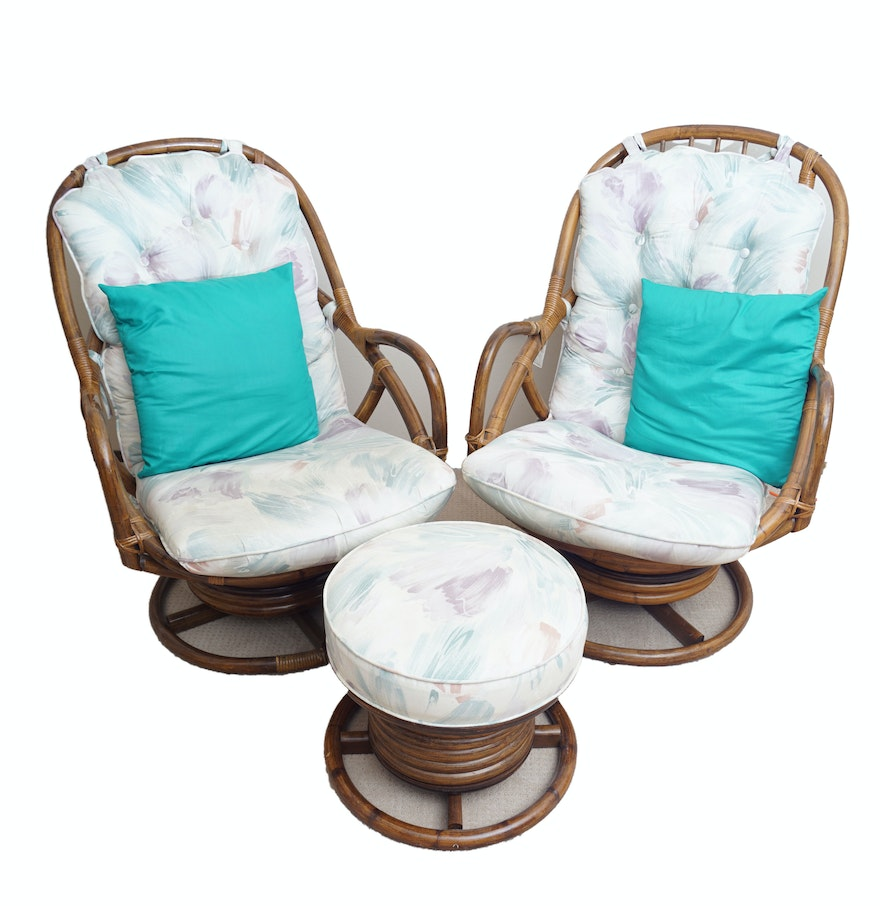 Sensational Pair Of Rattan Swivel Chairs With Ottoman Pabps2019 Chair Design Images Pabps2019Com