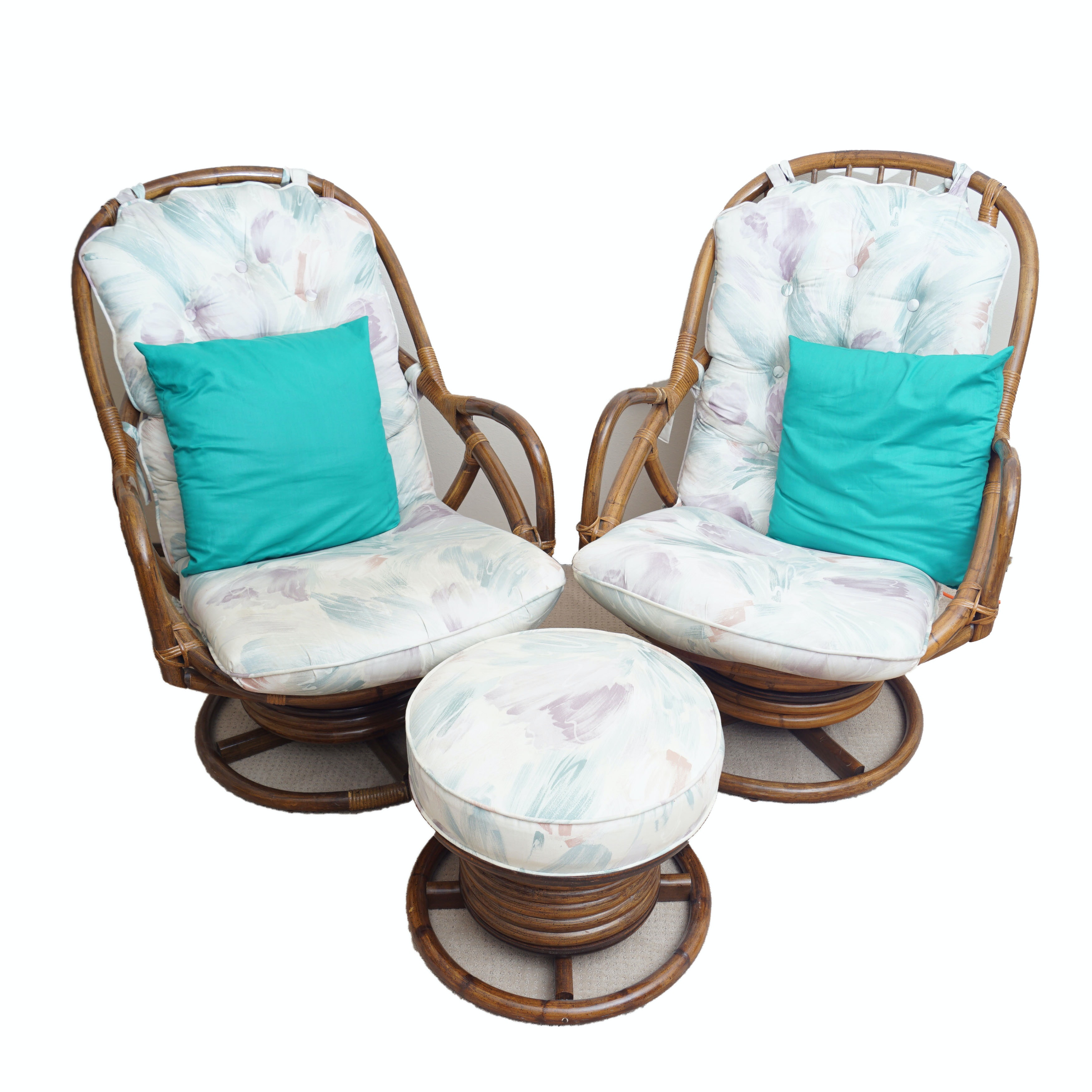 Pair Of Rattan Swivel Chairs With Ottoman ...